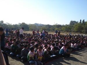 Child listen to Kushbu, the Balsena President, speak about her experiences.